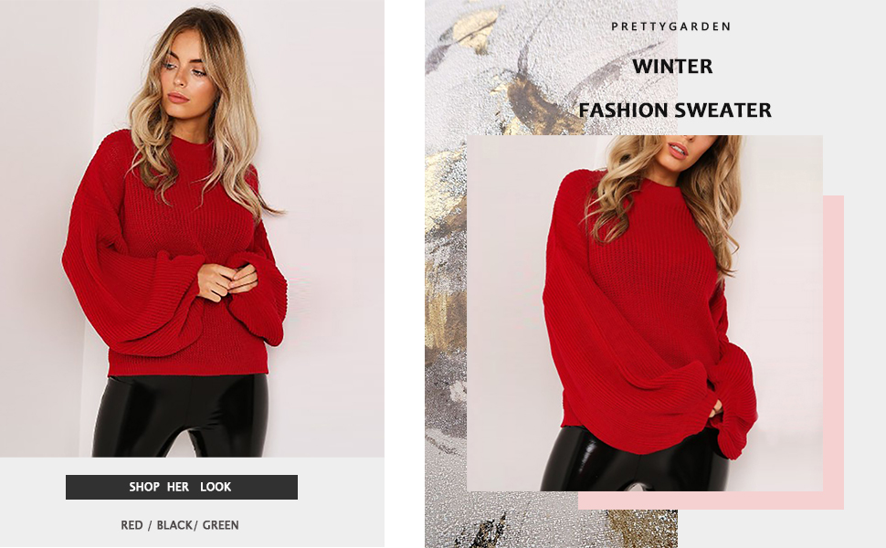 Loose Drop Shoulder Long Lantern Sleeve Round Neck Fashion Pullover Knit Sweater Tops