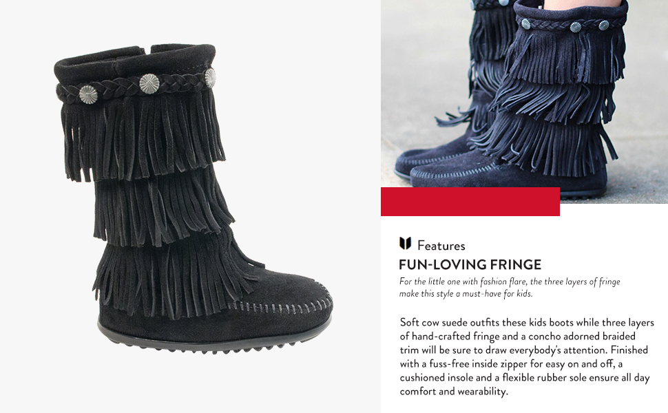 10 M US Women/'s 3 Layer Fringe Boots New With Box Black