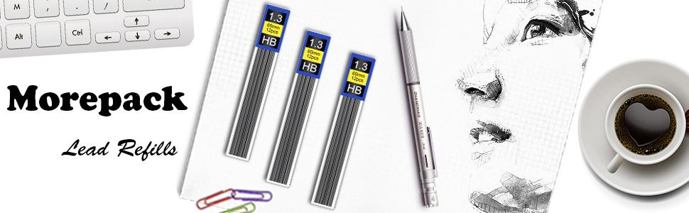 Lead Refills 1.3 mm HB Morepack 840 Pieces Break Resistant Mechanical Pencil