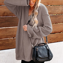Long Loose Ribbed Front Sweater