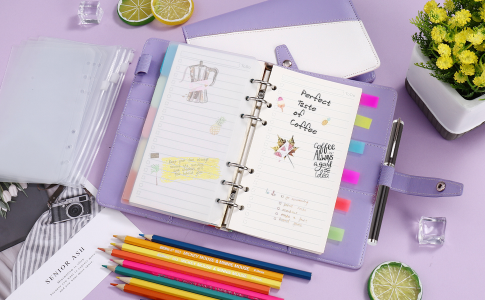 Budget Binder, A6 Binder with 6 Ring Planner, 180 Pages Refill Papers