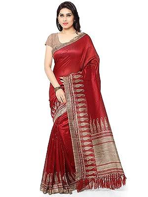 Rajnandini Women's Tussar Silk Printed Traditional Saree With Blouse Piece