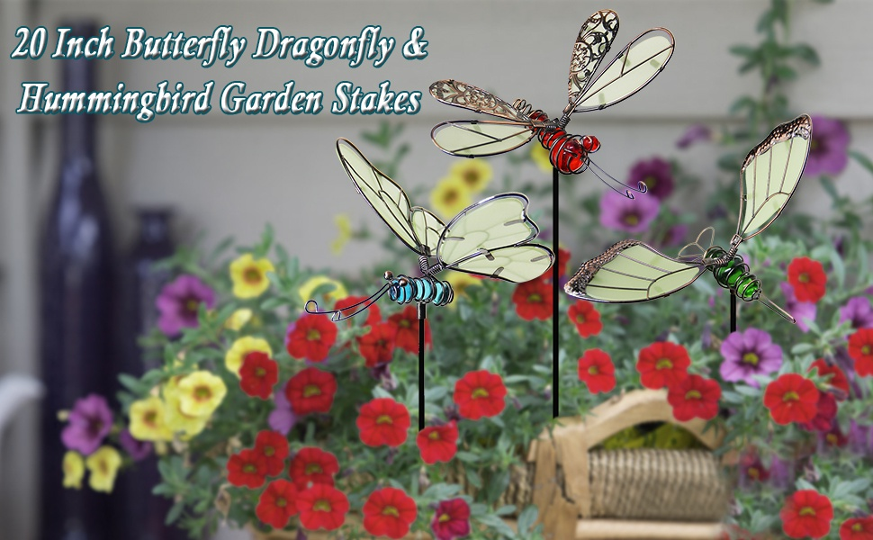 20 Inch Butterfly Dragonfly & Hummingbird Garden Stakes