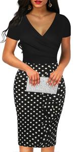 Women's Deep V Neck Patchwork Casual Dress Sheath Work Dress Knee-Length Cotton Pencil Dresses