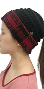 Buffalo Plaid Checker Fleeced Fuzzy Lined Unisex Chunky Thick Warm Stretchy Beanie Hat Cap Red Black