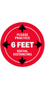 "Please Practice Social Distancing Floor Stickers - 8"" Round - Red"