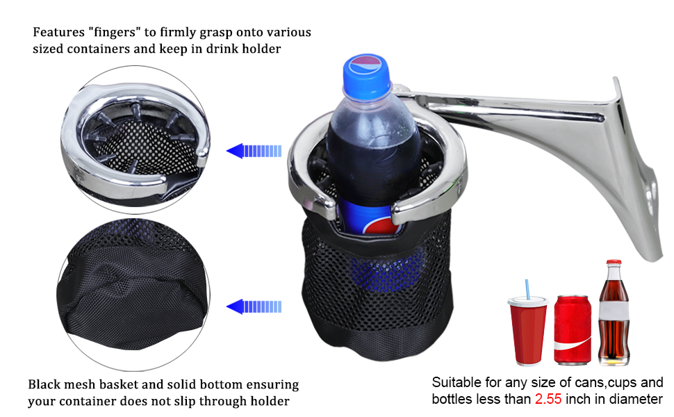 AUFER Left Side Motorcycle Passenger Drink//Cup Holder with Mesh Basket for 1998-2013 Touring Electra Glides Road Glide /& Trike,Chrome