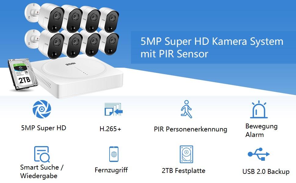 5mp Überwachungskamera Set mit PIR Sensor