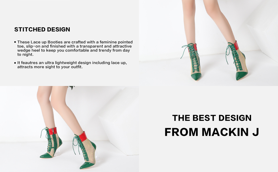 MACKIN J Sandals 312-1 Womens Multi-Color Lucite Heels Lace Up Wedge Mesh Transparent Wedge Heel Mid Calf Ankle Bootie Shoes