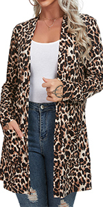 Women's Casual Leopard Printed Cardigans Long Sleeve Cover Up