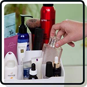 makeup organizer opening drawer Uncluttered Designs countertop bathroom bedroom home storage desk