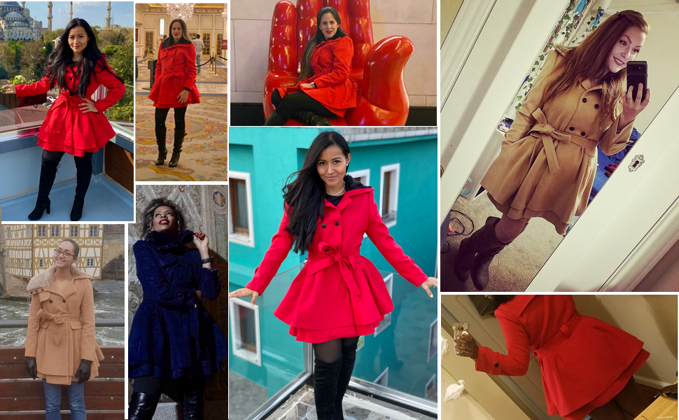 Women's Fashion Faux Fur Wool Trench Coat Jacket