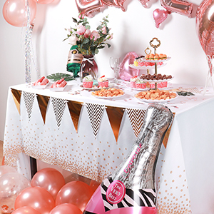 JINLE 6 Pack Party Tablecloths Disposable Plastic Table Covers 54 x 108 Rose Gold Dot Confetti Rectangular Table cloths for Picnic Weddings Birthday Parties