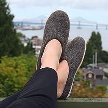 slate, grey, brown, slippers