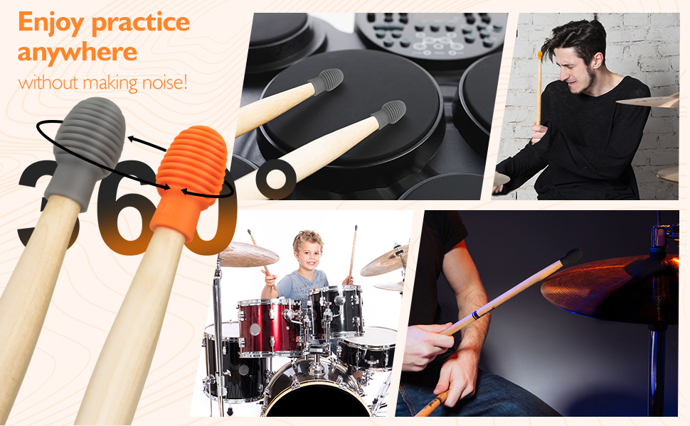 Silicone Mute Drumstick Functional Easy Operation Performance Music Event Playing for Music Enthusiast Orange Drum Stick Practice Tip