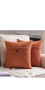farmhouse linen burlap pillow covers with button orange vintage retro decor