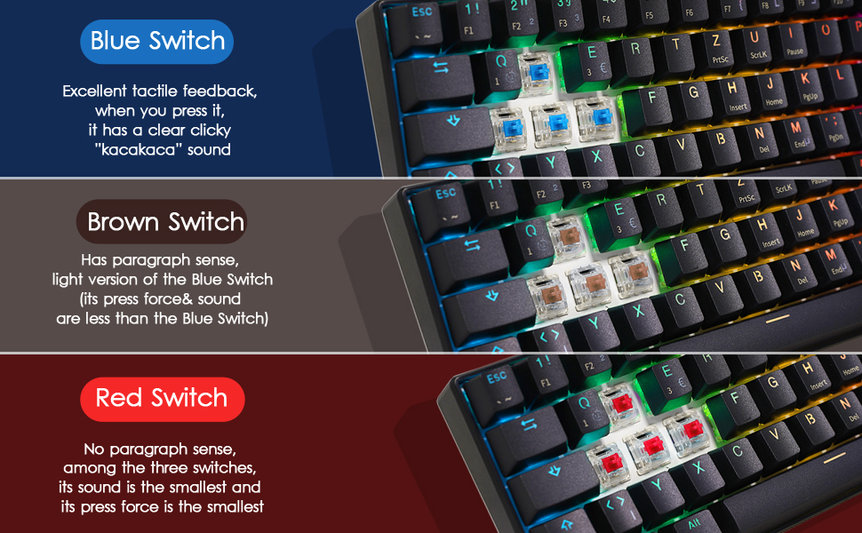 Amazon Com Rk Royal Kludge Rk61 Wired 60 Mechanical Gaming Keyboard Rgb Backlit Ultra Compact Blue Switch Black Computers Accessories