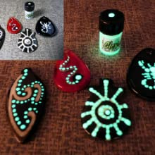 Bead work which glows in the dark