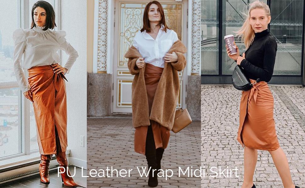 Wrap PU skirt