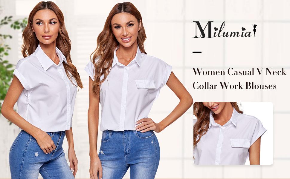 Women Casual V Neck Collar Knot Hem Button Down Rolled Cuff Short Sleeve Work Blouses Shirt Tops