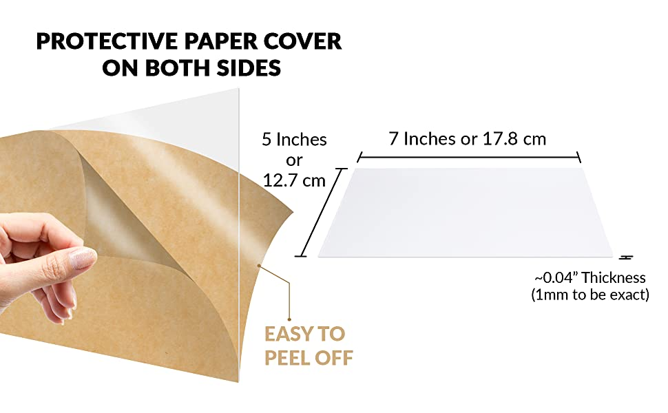 protective paper cover on both sides easy to peel off acrylic sheet size dimensions thickness
