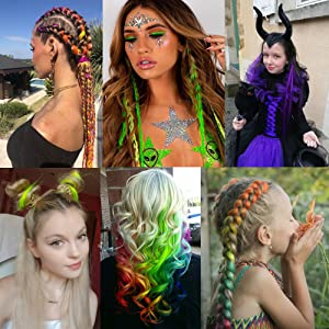 Colorful Long Hair Extensions Multi-Colors Party Highlights Clip in Hairpiece for Kids Girls