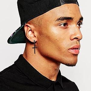 male earrings surgical steel black male stud earrings men black earrings