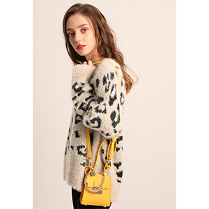 women super soft faux fur leopard pullover sweater