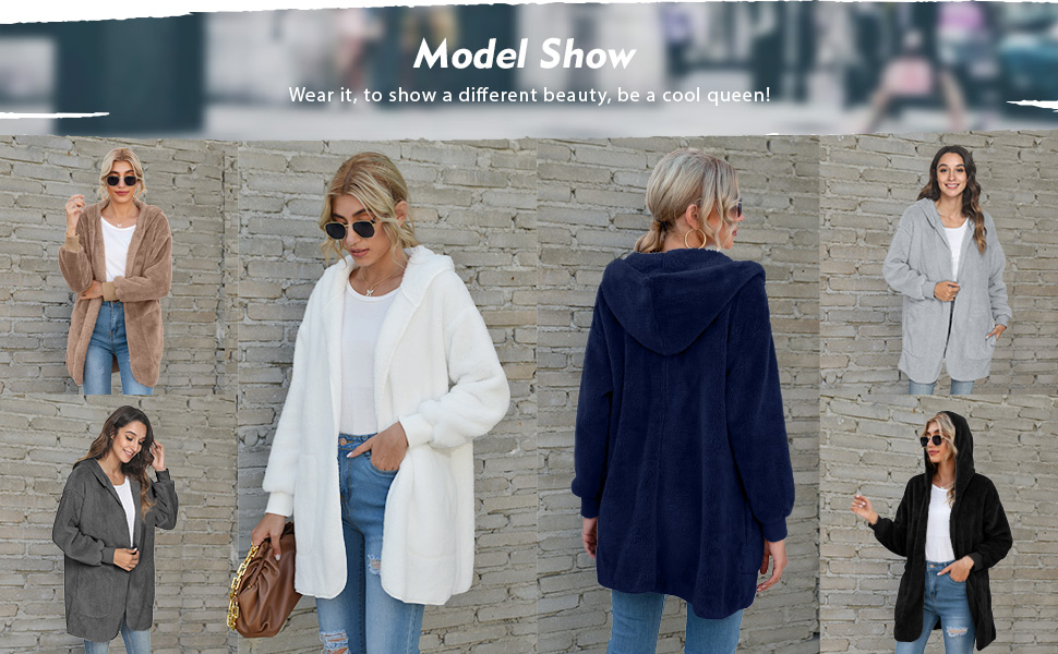 Open Front Hooded Sweater with Pockets