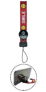 ONES - 2in1の ストラップ & スタンド - 携帯 リストストラップ - 赤 · スマイルシリーズ