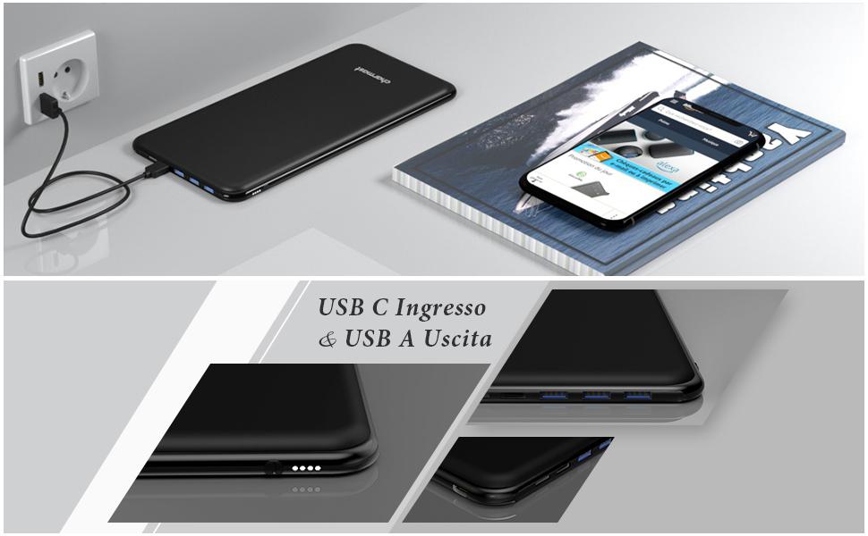 26800mAh USB-C power bank 3 Ingresso & 4 Uscita