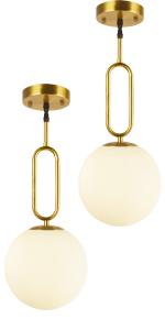 2 Pack 1-light Modern Globe Pendant Light Fixture