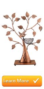 Jewelry Tree Bronze Bird Nest 48 Pair Earrings Holder, Bracelets/Necklace Organizer Stand