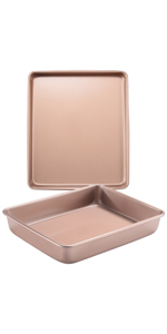 deep baking pan set 2 picec rectangle cake pan baking sheet for oven nonstick set bakeware set