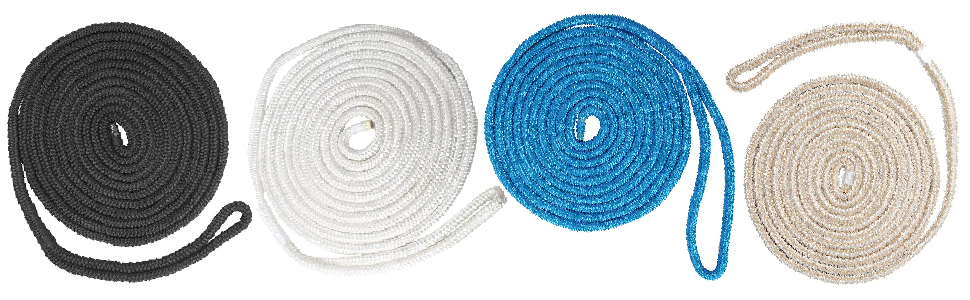 NovelBee 4 Pack of 1/2 Inch x 25 Feet Double Braid Nylon Dockline,Mooring Rope Dock Line for Boat