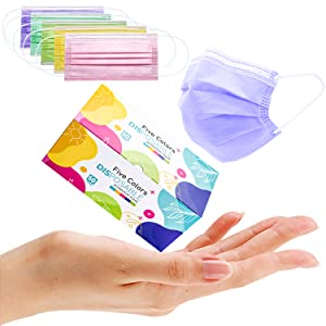 disposable mask multicolored mask with elastic earrings and adjustable nose bridge 50 pieces