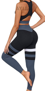 Yoga Workout Outfits Women 2 Piece Set High Waisted Striped Gym Leggings Fitness Gym Outfits Set