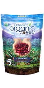 5 LB Subtle Earth Organic Coffee - Medium-Dark Roast