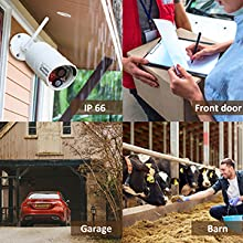 4-channel wireless security camera systems farm barn entrance indoor/outdoor