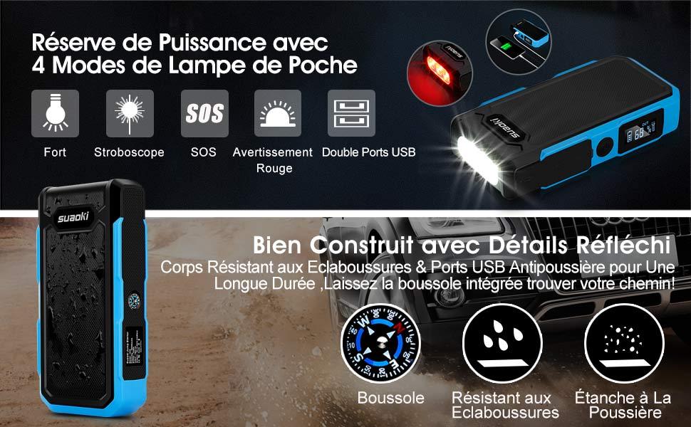 SUAOKI U10 20000mAh Jusqu'à 50 Fois Pinces Intelligentes Jump Starter Booster EU