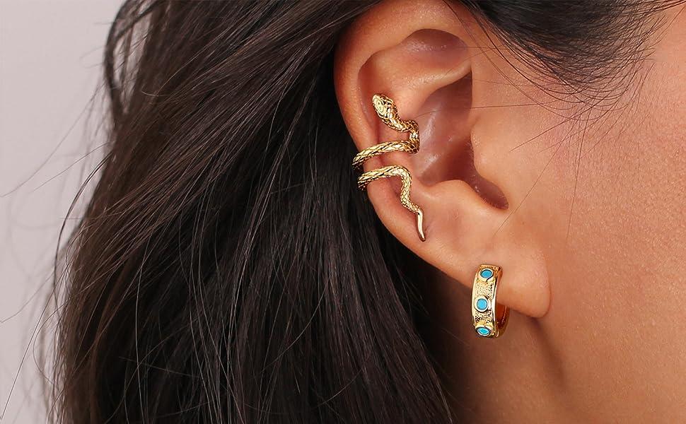 14K gold glated wide cuff ear clip on cartilage earrings