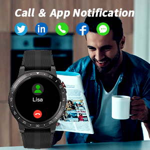 round smart watch with message call notification