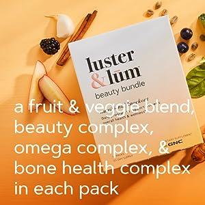 a fruit & veggie blend, beauty complex, omega complex, & bone health complex in each pack
