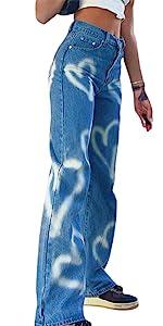 heart print wide leg jeans