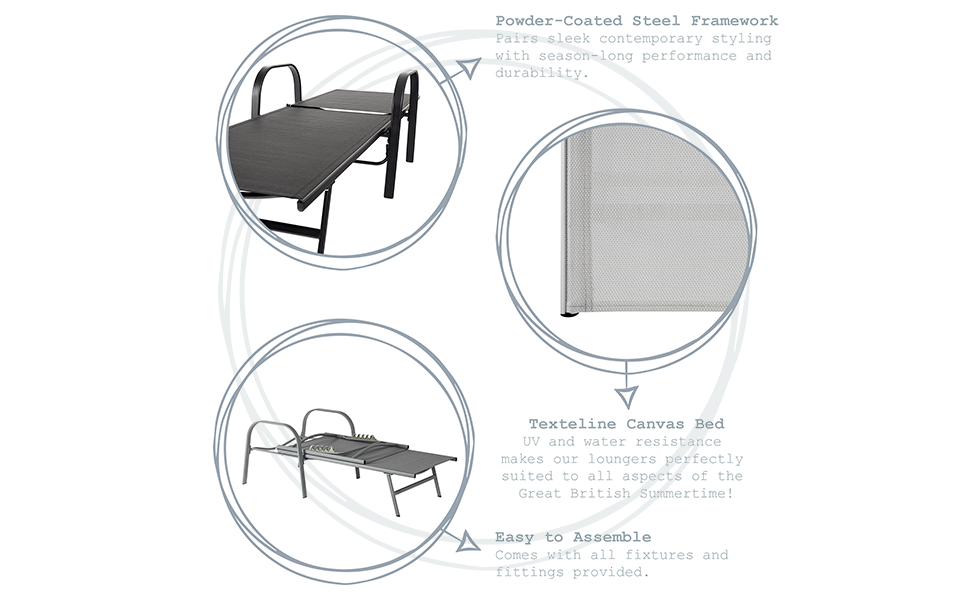 Harbour Housewares Sussex Adjustable Garden Sun Lounger Bed Key Features