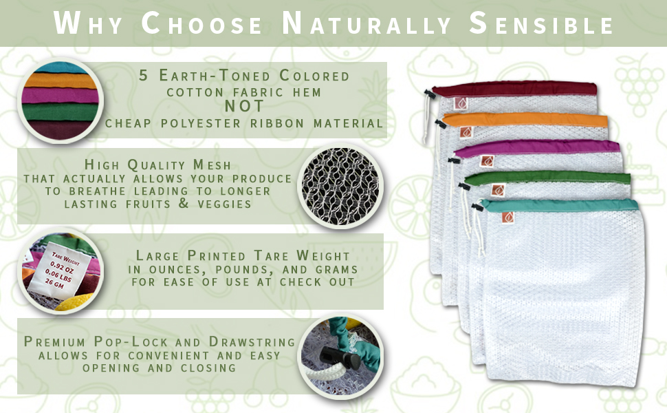 Naturally Sensible Reusable Produce Bags Grocery Bag Totes Fruit and Veggies zero waste go green