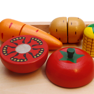 Wooden Play Food for Kids Kitchen toys for toddlers Cutting Pretend Toy Food wooden FruitsVegetables