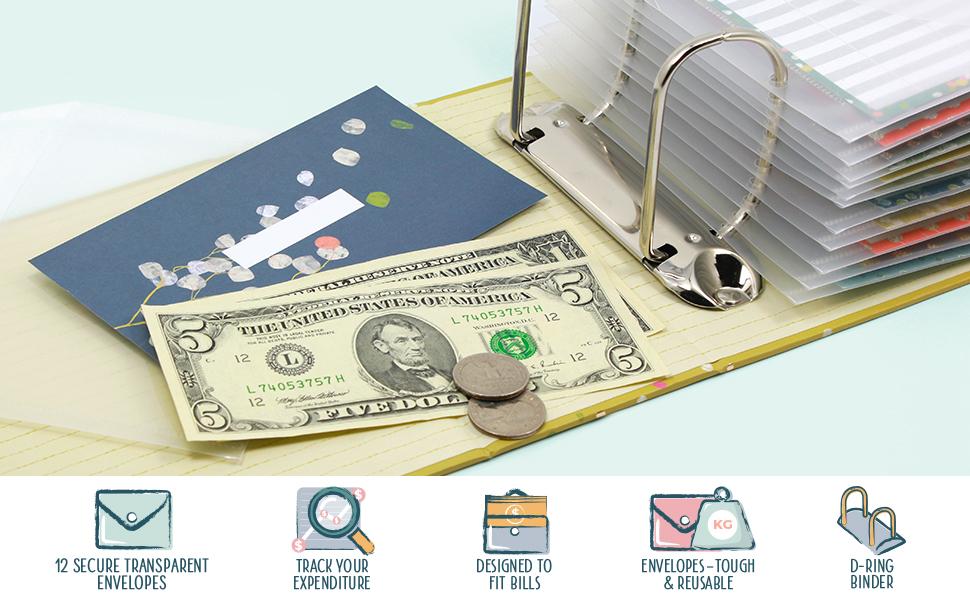 Boxclever Press cash envelopes ring binder budgeting saving tracker monthly bill organizer coupon