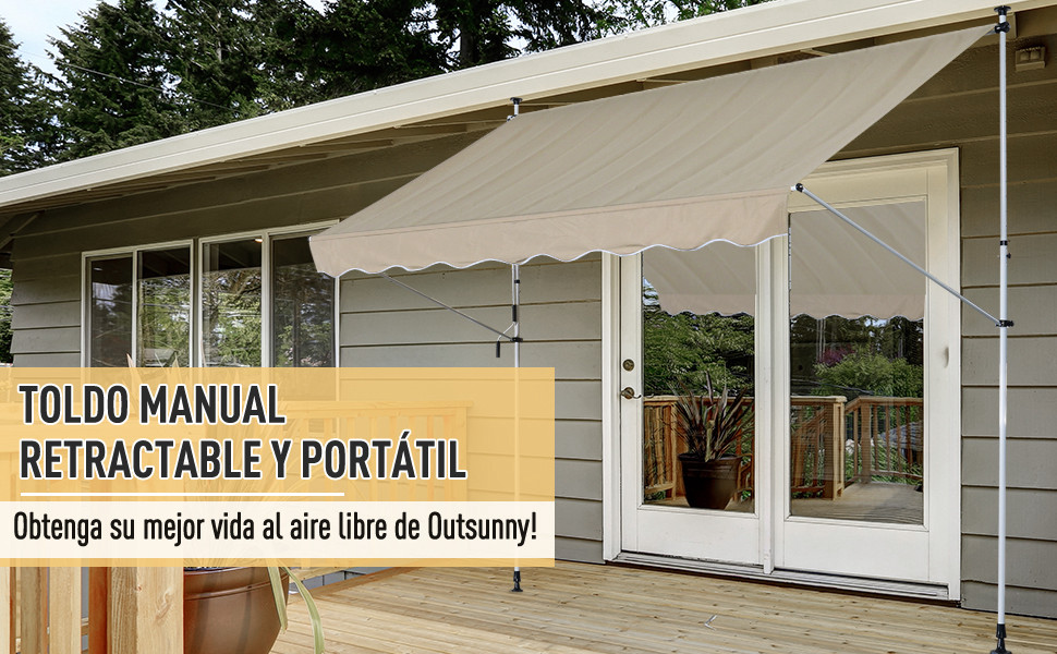 Outsunny Toldo Portátil Balcón Patio Toldo Manual Plegable de ...