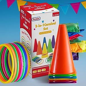 carnival combo set bean bags ring toss cones
